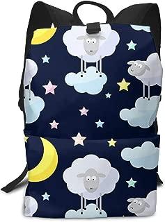 Llama Alpaca Laptop Outdoor Backpack Casual Large College School Daypack for Men Women Boys Girls Little Sheep Star Moonlight Night