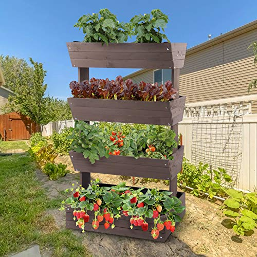 Aivituvin Vertical Raised Garden Bed with 4 Containers, Elevated Freestanding Herb Planter Box Growing Vegetable, Strawberry, Flower