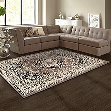 Superior Elegant Glendale Collection Area Rug, 8mm Pile Height with Jute Backing, Traditional Oriental Rug Design, Anti-Static, Water-Repellent Rugs - Brown, 8' x 10' Rug