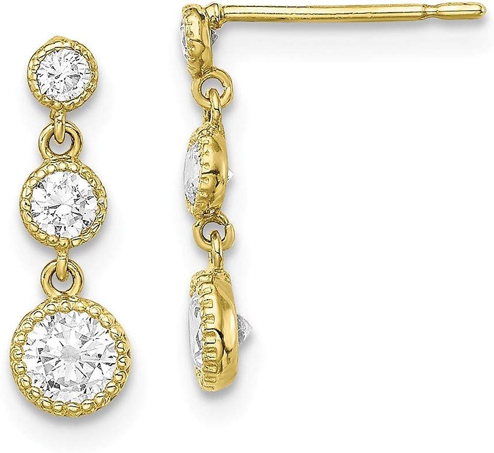 10k Yellow Gold Cubic Zirconia Cz Drop Dangle Chandelier Post Stud Earrings Fine Jewelry For Women Gifts For Her