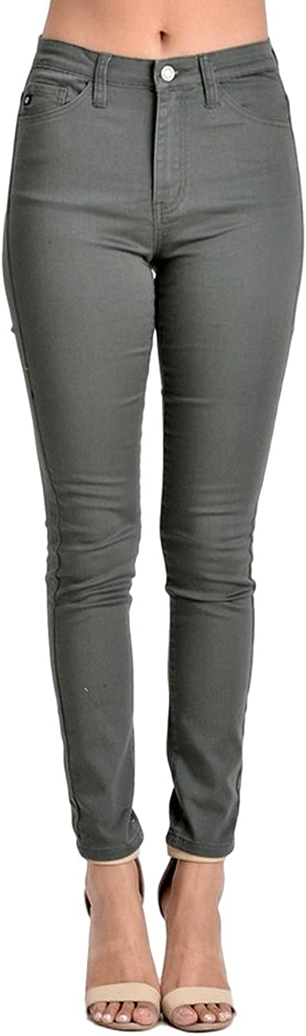 Kan Can Women's High Rise Skinny Jeans Olive KC5002OL