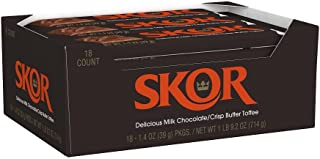 SKOR Chocolate Candy Bar with Buttered Toffee, 1.4 Ounce (Pack of 18)