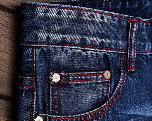 IDEALSANXUN Men's Printed Pattern Skinny Biker Jeans Ripped Stretchy Slim Denim Pants (38, Blue 164)