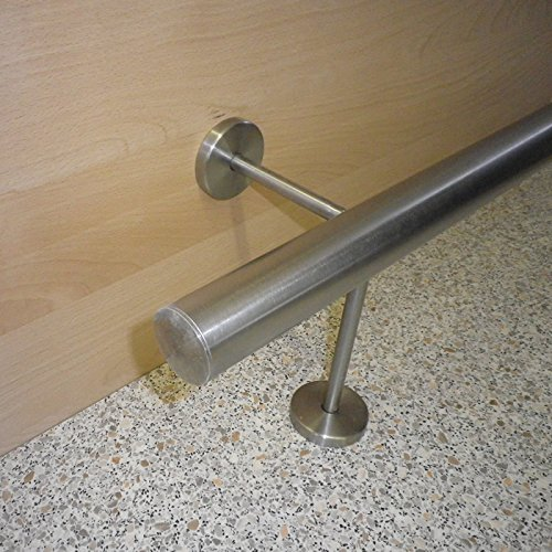 Edelstahl Bar-/Tresen-/Fußstange Ø 33,7 mm (aus einem Stück/ungeteilt) (120cm 2 Edelstahl-Halter)