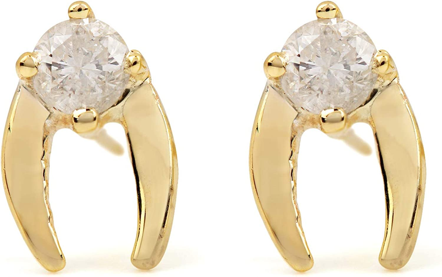 ASHNE JEWELS IGI Certified 0.19ct Natural Diamond (G-H Diamond Color and I1-I2 Diamond Clarity) Stud Earrings Made in Solid Yellow Gold Jewelry For Women and Girls