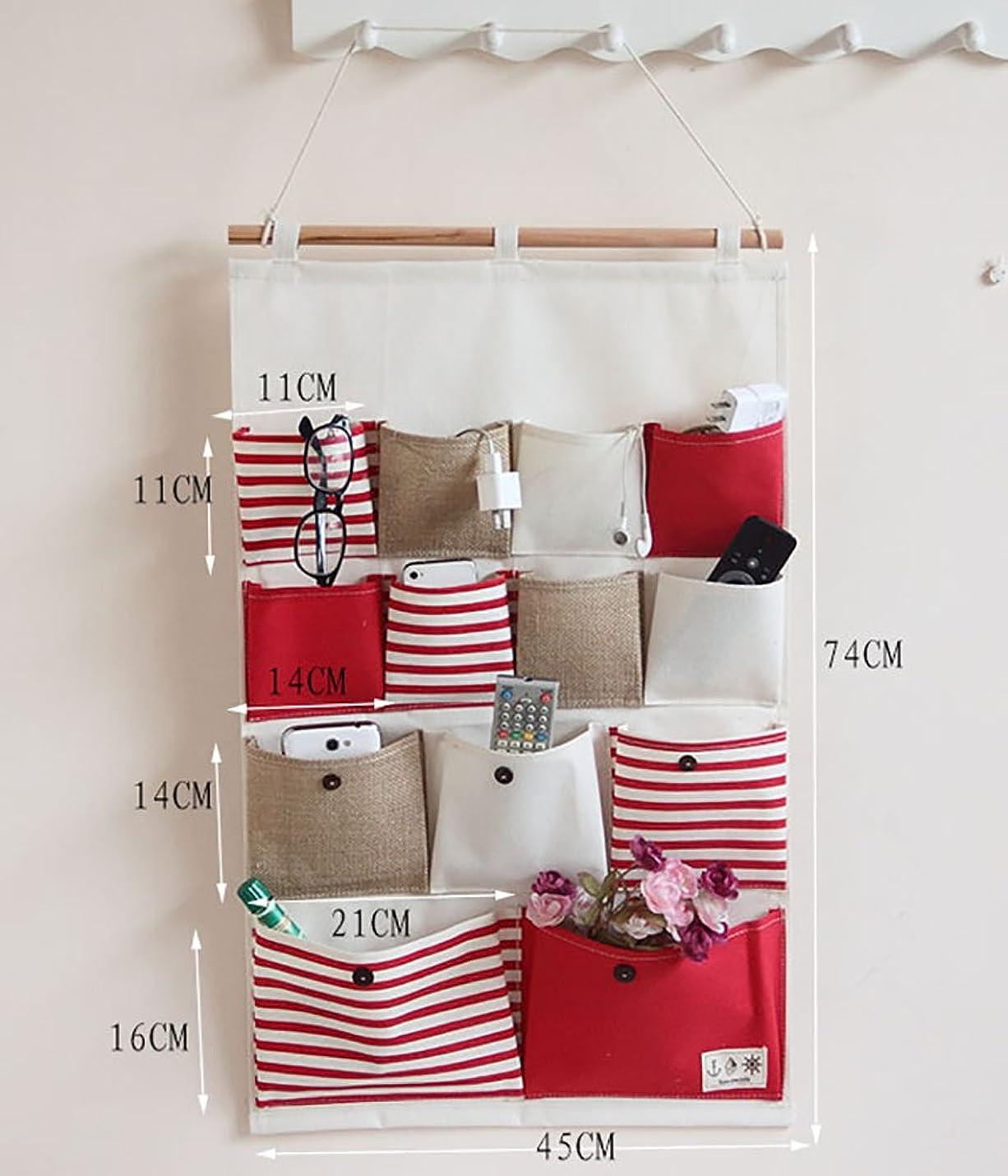 密接に本質的にローマ人綿麻生地ストライプ4段13個のポケット壁掛け収納袋 ドアの後に掛け壁掛式の収納袋 (レッド)
