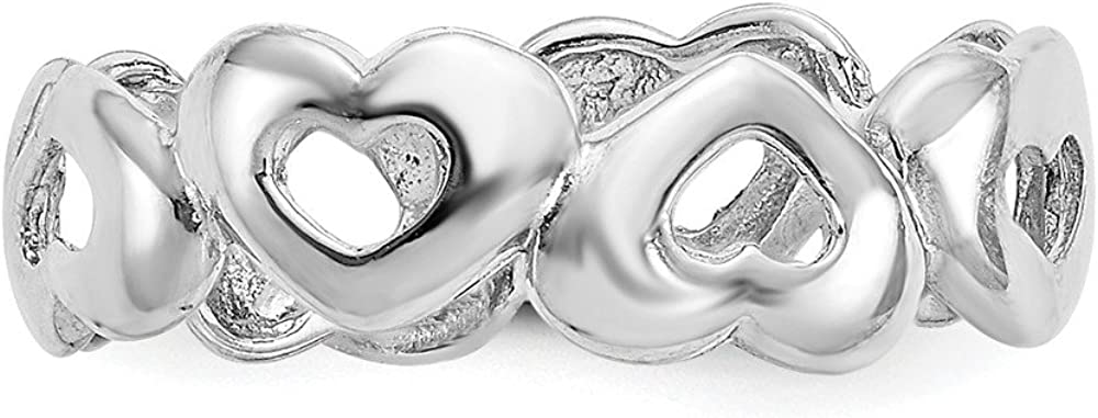 14K White Gold Up and Down Heart Open Adjustable Toe Ring