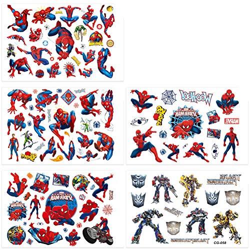 Qemsele Temporäre Tattoo Set Kinder, 200+ Pcs 10 Sheet Tattoos Aufkleber Sticker Wasserdicht Klebe-Tattoos Frozen Superheld Für Geschenktüten Kindergeburtstag Mitgebsel Mädchen Jungen (Spider Man)