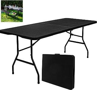 DNNAL Garten-Tisch, Esstisch für 6 Personen Klapptisch Rattanoptik Gartenmöbel Küchentheke Partei (180 x 74 cm)