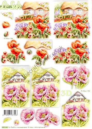 Poppy Flowers & Cottages Die Cut 3d Decoupage Sheet From Le Suh