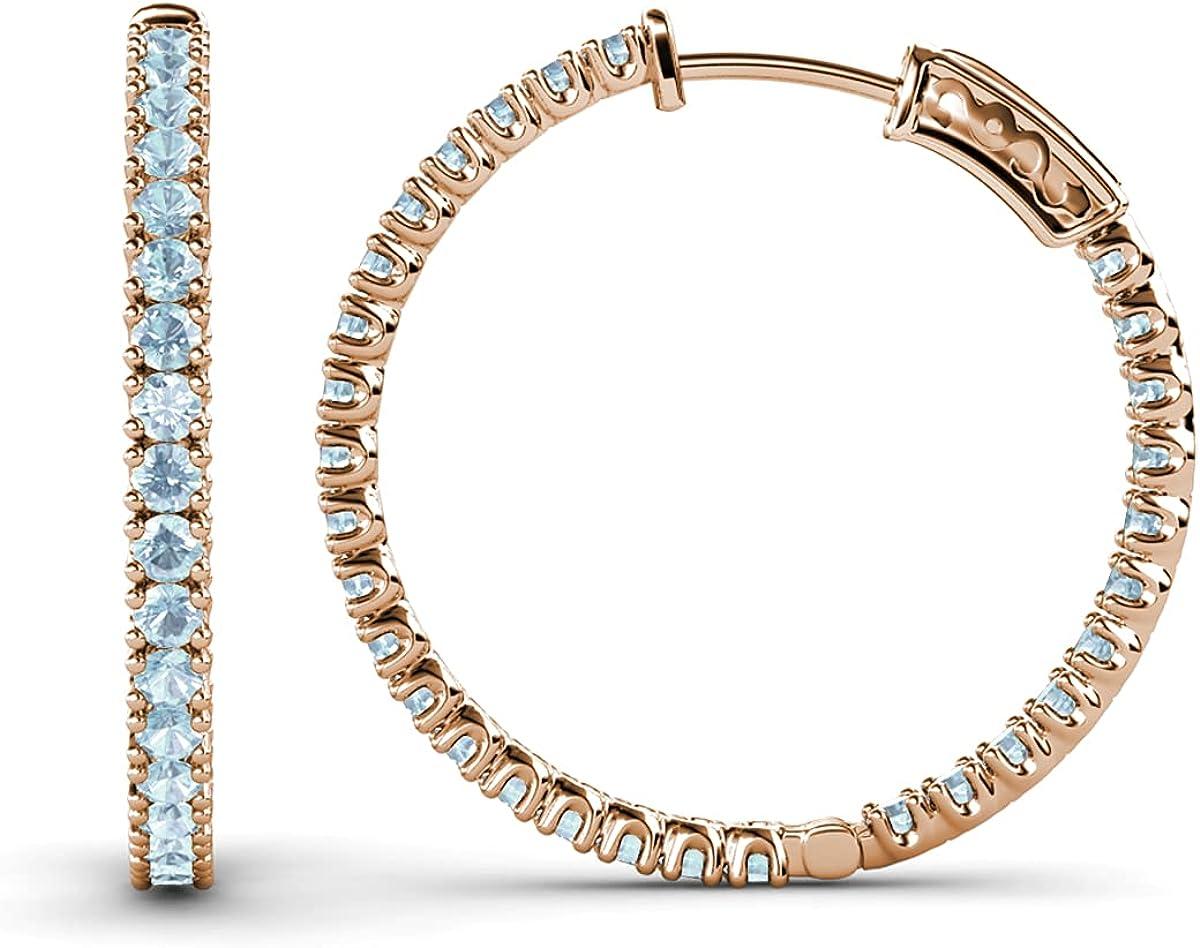 TriJewels Aquamarine 2mm Inside-Out Hoop Earrings 1.32 Carat tw in 14K Rose Gold