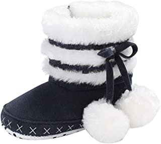 Saingace 0~6 Month Black Flock Cotton Baby Girl Soft Booties Snow Boots Infant Toddler Newborn Shoe Warmer for 6 12 18 Months Black