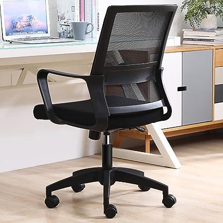 オフィスチェア デスクチェア パソコンチェア 椅子 チェア 事務椅子 昇降機能付き ランバーサポート 通気 360度回転 (Black)