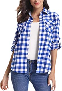 Women's Casual Button Down Shirts Classic Plaid Long Sleeve Loose Blouse Shirt