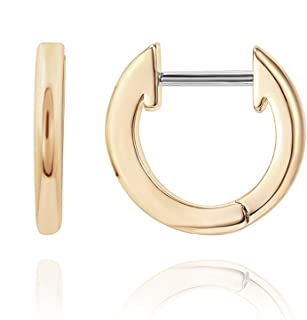 14K Gold Plated Cuff Earrings Huggie Stud | Small Hoop Earrings for Women