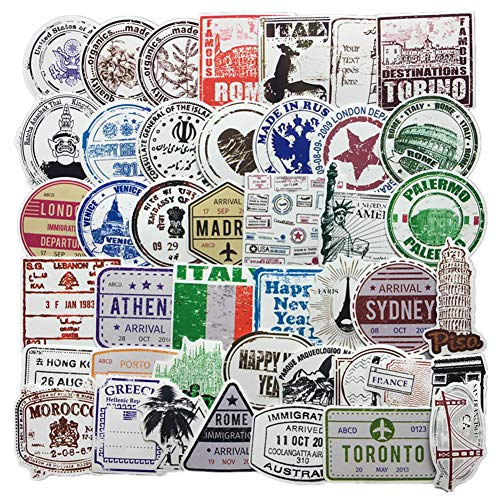 Homyu Stickers 60-Pcs PVC Decals Retro Stamp Postmark Theme Waterproof Sunlight-Proof DIY Ideals for Cars Motorbikes Skateboard Spinner Luggages Laptops