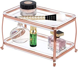 mDesign Decorative Makeup Storage Organizer Vanity Tray for Bathroom Counter Tops, 2 Levels to Hold Makeup Brushes, Eyesha...