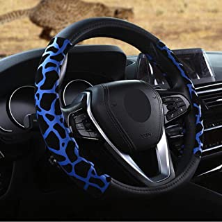Carmen Leopard Printed Steering Wheel Cover Warm Leather Comfy Soft Padding 15 Inch Snug Grip Four Seasons Universal Fit (Blue)