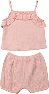 JBEELATE Baby Girls Outfits Ruffle Cami Crop Top Shorts Clothes Set Solid Pajamas Two Pieces
