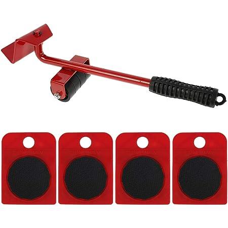 Kit de Deplace Meuble Lourd Sans Effort avec 1 Tige de Levage et 4 Roulettes de Déplacement,Deplace Meuble a Roulette,Kit Levier et chariot de meubles,Roulettes pour Meubles Jusqu'à 150KG (Rouge)