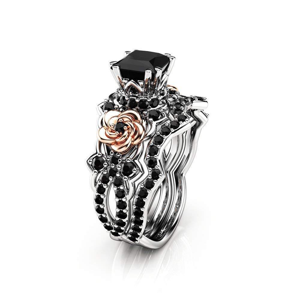 Black Diamond 5 ☆ very popular Engagement Ring Set sale Bridal Wh Princess Cut 14K