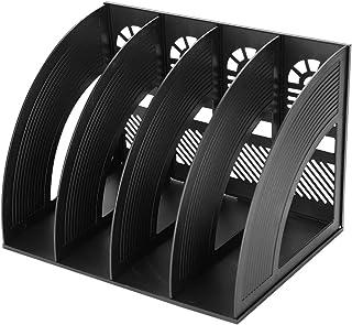 4 Compartiments Porte-revues Support Organiseur de Bureau Papier A4 Dossier CD Magazine Livre Etagère de Rangement Module ...