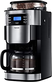 Kenwell Coffee Maker with 10-Cup Programmable Thermal Coffee Maker and Strong Brew, Glass Carafe, Stainless steel/Black.