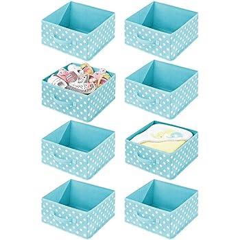 Turquoise//Blanc Lot de 4 Corbeille de Rangement pour Jouets avec poign/ée et Ouverture sur Le Dessus mDesign Panier de Rangement pour la Chambre denfant Boite en Tissu synth/étique