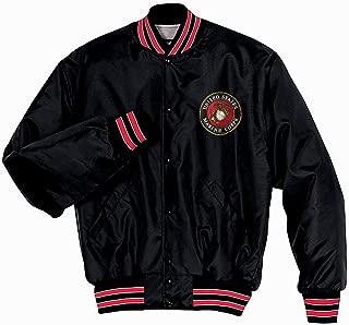 Rock City Threads USMC Marines Seal Black Nylon Baseball Jacket with Quilted Lining