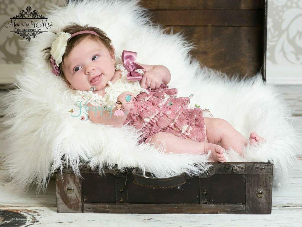 Baby Girl Dusty Ivory Satin Philadelphia Mall Rose Sale price Lace Romper Dus Petti Set