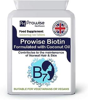 Biotina formulada con aceite de coco 10,000mcg 120tabletas Tabletas de biotina de alta resistencia - Reino Unido Fabricado con GMP Calidad garantizada - Adecuado para vegetarianos y veganos