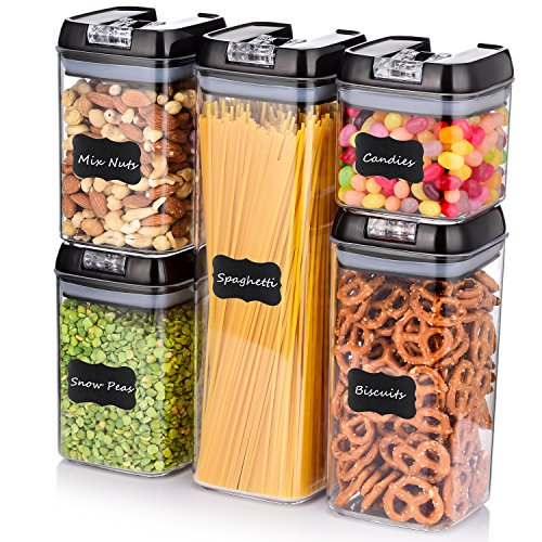 ME.FAN Air-Tight Food Storage Container Set - [5-Piece Set] - Durable Seal Pot- Cereal Storage Containers - For Dry Foods & Liquids - Kitchen Space Saving - Clear Containers with Black Lids