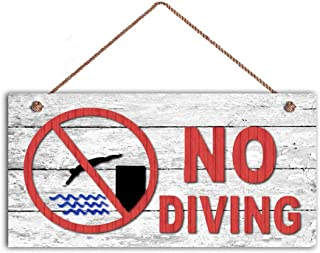 TOPFINES NO Diving Sign, Swimming Pool Sign, Pool Gate Sign, 5