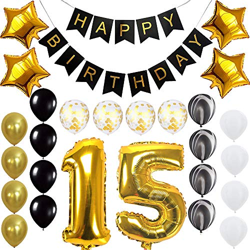 Quinceanera Happy 15th Birthday Banner Balloons Set for 15 Years Old Birthday Party Decoration Supplies Gold Black