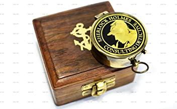 Sailor's Art Vintage Brass Pocket Compass with Wooden Box | Travelling Compass | Vintage Home Decor Sailor's Gift for Men