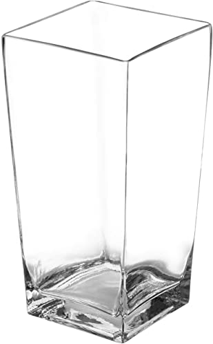 """popular Royal Imports online sale Flower Glass Vase Decorative Centerpiece for Home or new arrival Wedding Tall Square Tapered Shape, 10"""" Tall, 5""""x5"""" Opening outlet sale"""