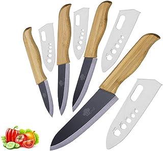 Couteaux en céramique Set Paring Slicing Chef de dîner Ensemble de couteaux poignée en bambou avec couteaux de cuisine lam...