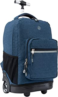 18 inches Wheeled Rolling Backpack for Boys and Girls School Student Books Laptop Travel Trolley Bag, Dark Blue