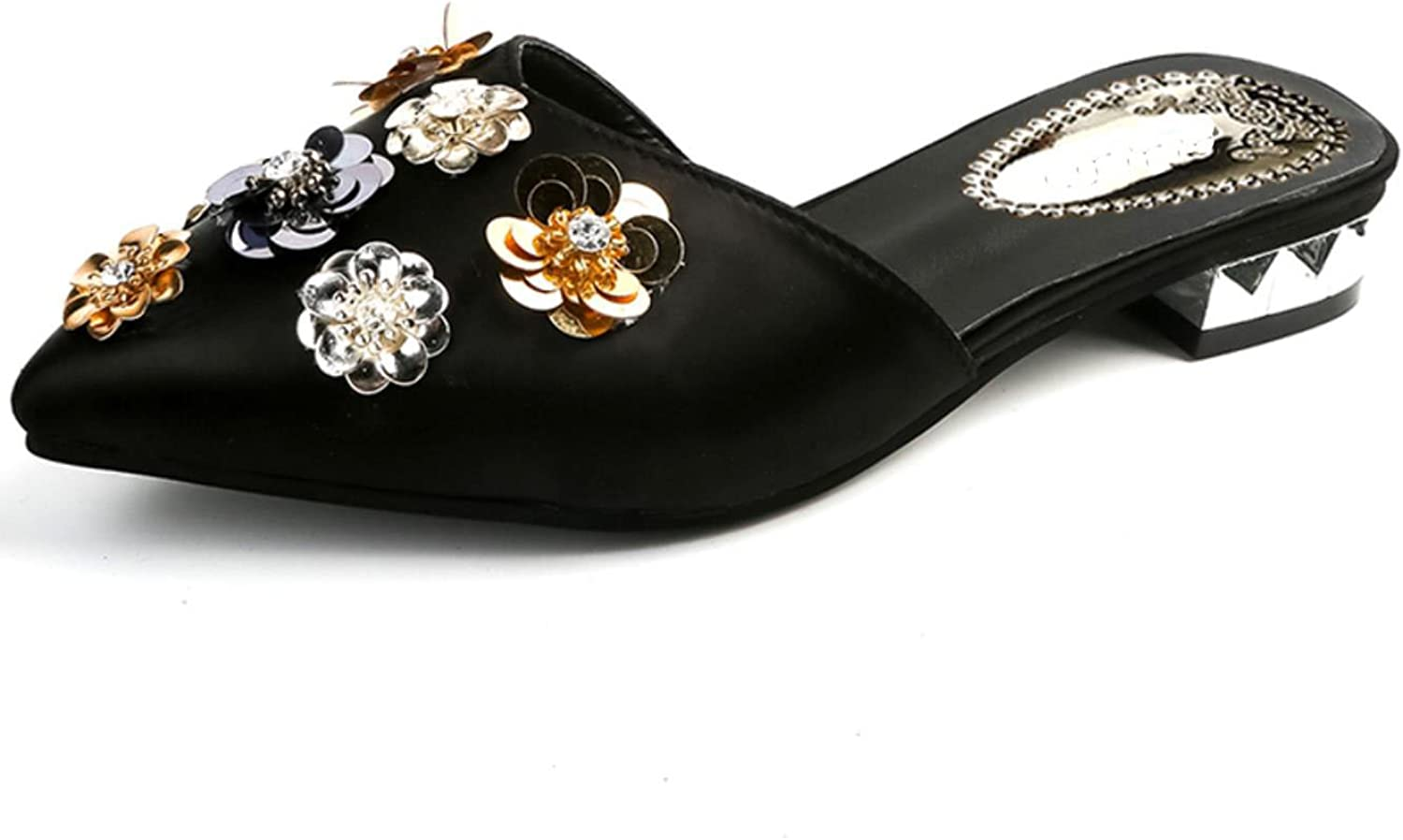 Women Low Square Heel Flat Floral Point Toe Outdoor Slipper Plus Big Size