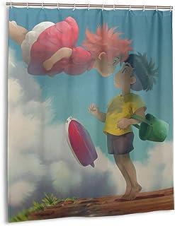 LuciaRivera Ponyo Pony Sosuke Shower Curtains Bathroom Waterproof 3D Printing Decoration Poliéster Shower Curtain 60 x 72 pulgadas with 12 Gooks de plástico