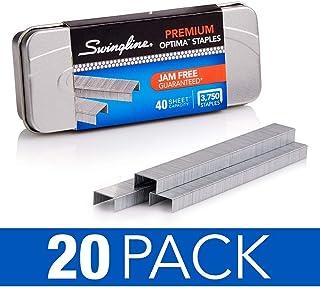 "Swingline Staples, Optima, Premium, 1/4"" Length, Jam Free, 210/Strip, 3750/Box, 1 Box (35556) Pack of 20"