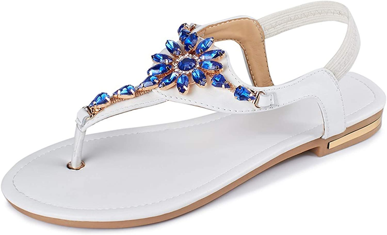 Leather Women Sandals Solid color Rhinestone Flat Summer Sandals Ladies Flip Flops shoes