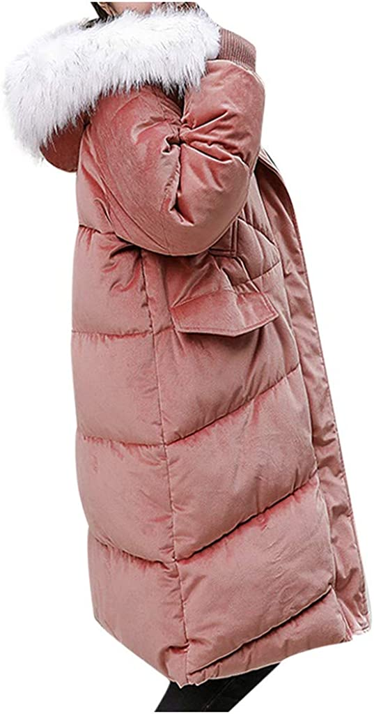 Womens Winter Warm Fashion Cotton Hooded Winter Long-Sleeved Overcoat Jacket