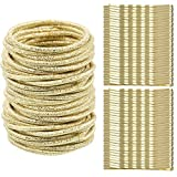 50 Pieces 3 mm No-metal Hair Elastics Thin Hair Ties Ropes Ponytail Holders Hair Bands with 50 Pieces Hair Bobby Pins (Gold)