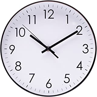Filly Wink Simple Wall Clock Sweep Second Hand Non Ticking Battery Operated Easy to Read Decor Kitchen,Bathroom,Office 10 Inch White