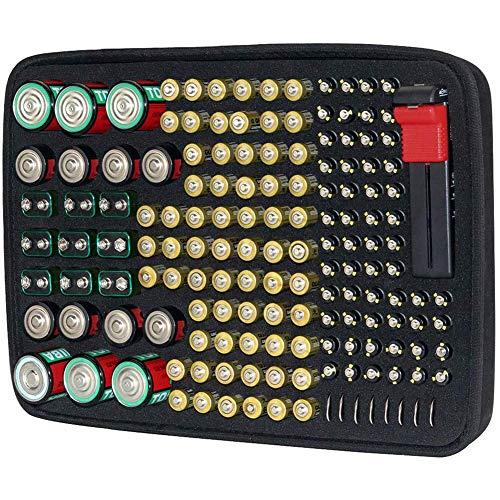 Brappo Battery Organizer Cartuccia di conservazione, contiene batterie - C 9V AA AAA Litio 3V, viene fornito con il tester batteria D-FantiX BT-168. (152 batterie)