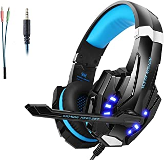 Gaming Headset PS5/PS4 Headsets with Microphone Noise Canceling Stereo Over Ear Games Headphones,LED Light, Bass Surround,...