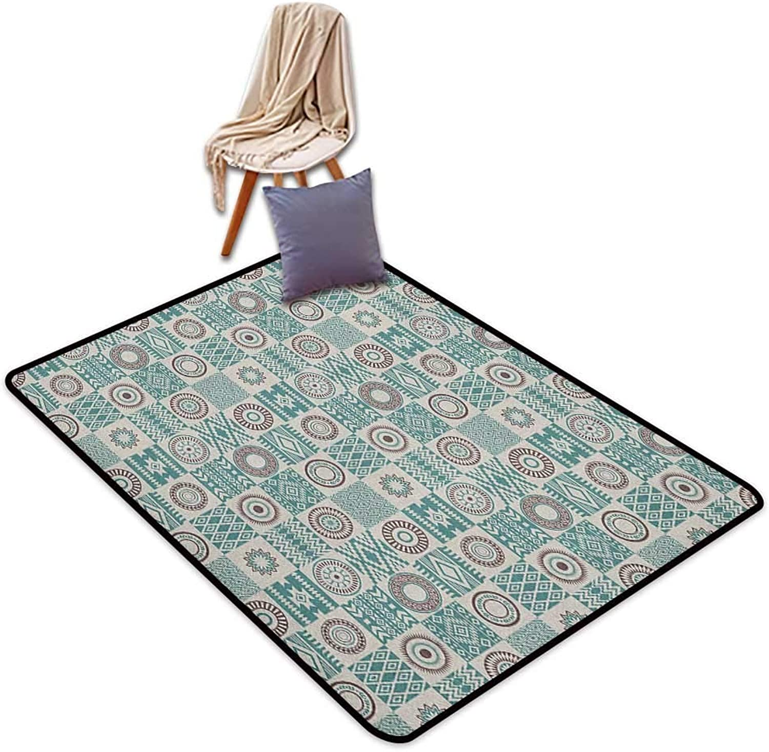 Inner Door Rug Afghan Checkered Squares with Ethnic Motifs Rhombuses Circles and Stripes Outside The Door Rug W5'xL7'