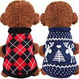 Geyoga 2 Pieces Christmas Puppy Sweater Knitwear Dog Sweaters Cute Reindeer Clothes Knitted Turtleneck Windproof Small Dog Coat for Winter Cold Weather (Small)