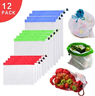 Reusable Mesh Produce and Grocery Bags Set of 12 Blue